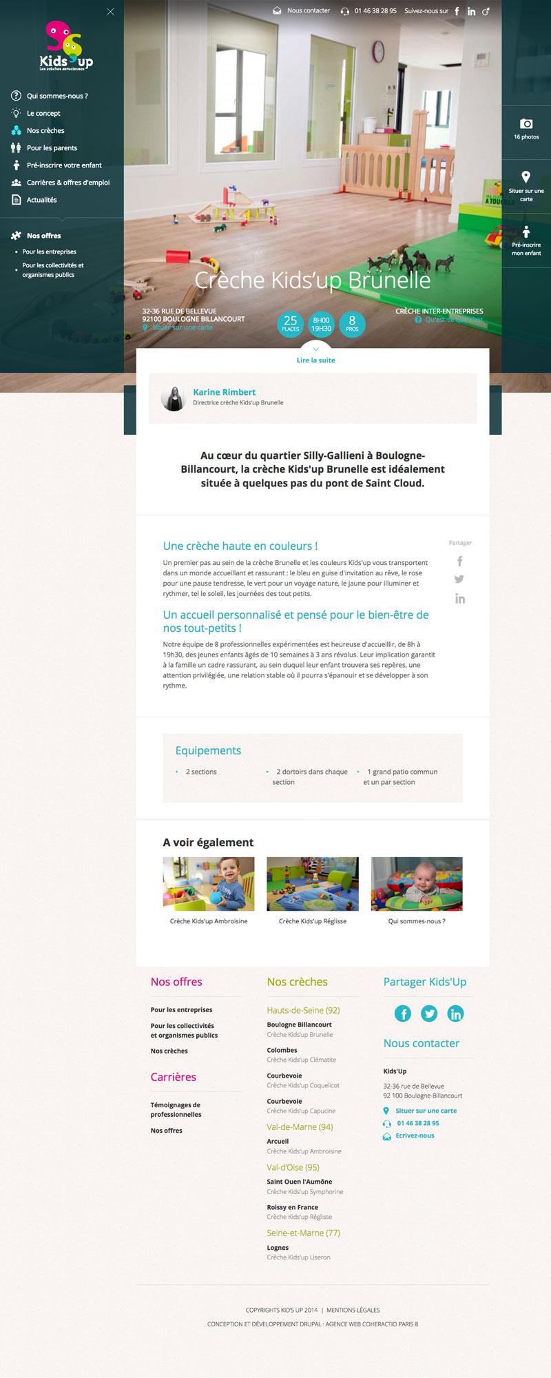 Kids'up - Design graphique, développement Drupal Responsive par Agence Web Coheractio