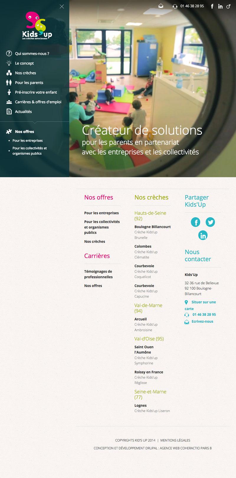 Kids'up - Design UX, développement Full Screen Responsive par Coheractio Agence Web Paris