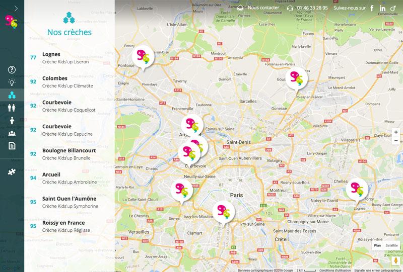 Kids'up - Google Map Full Screen Responsive - design et développement Coheractio Agence Web Paris