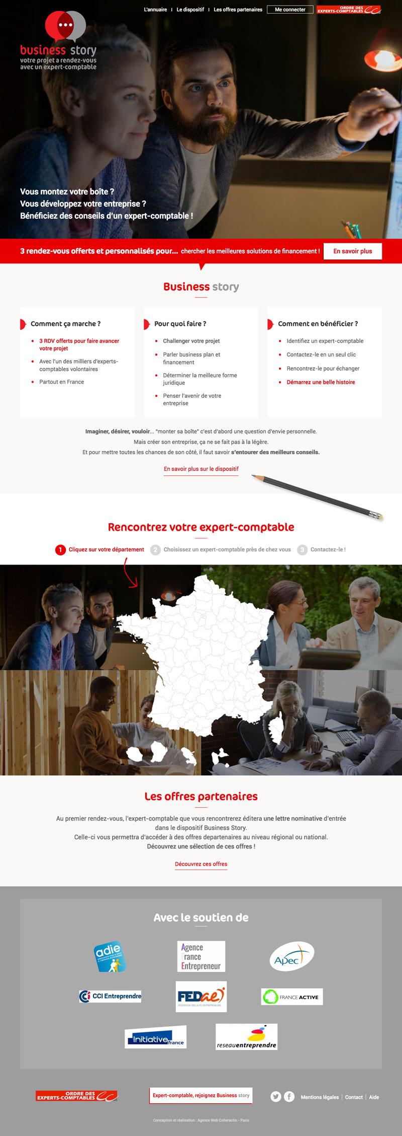 Business Story - Conception site Internet responsive pour l'Ordre des Experts Comptables par Coheractio Agence Web Paris