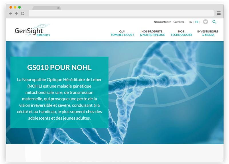 Gensight Biologics - Design du site web par Coheractio - Wordpress
